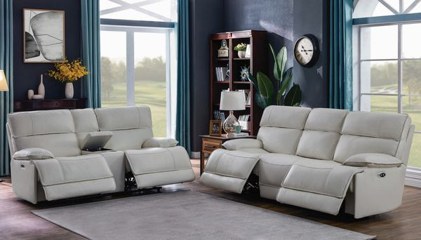Stanford 2-Pc White Power Recliner Sofa Set (Oversized) by Coaster