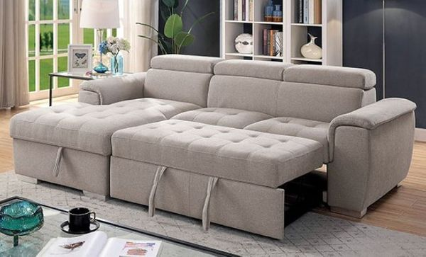 Stina 2-Pc Light Gray LAF Sectional w/ Sleeper by Furniture of America