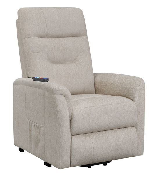 Terza Beige Fabric Power Lift Massage Recliner by Coaster