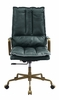 Tinzud Dark Green Top Grain Leather Swivel Office Chair by Acme