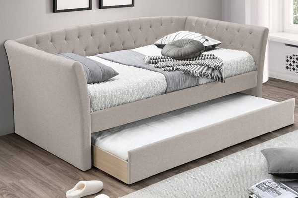 Valary Light Brown Burlap Tufted Twin Daybed with Trundle by Poundex