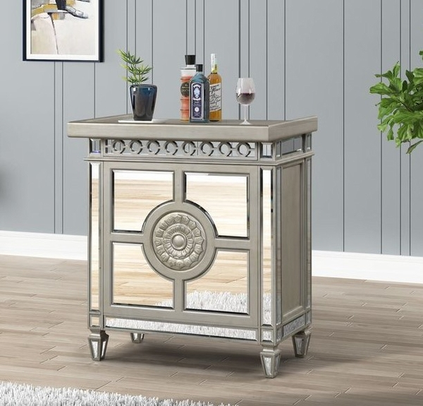 Varian Mirrored/Antique Platinum Wood Low Wine Cabinet by Acme