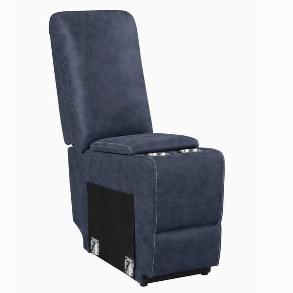 Variel 3-Pc Blue Faux Suede Manual Recliner Loveseat by Coaster