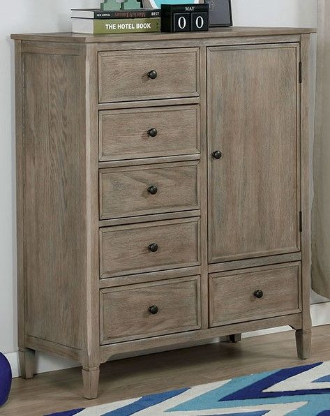 Vevey Wire-Brushed Warm Gray Wood Armoire by Furniture of America