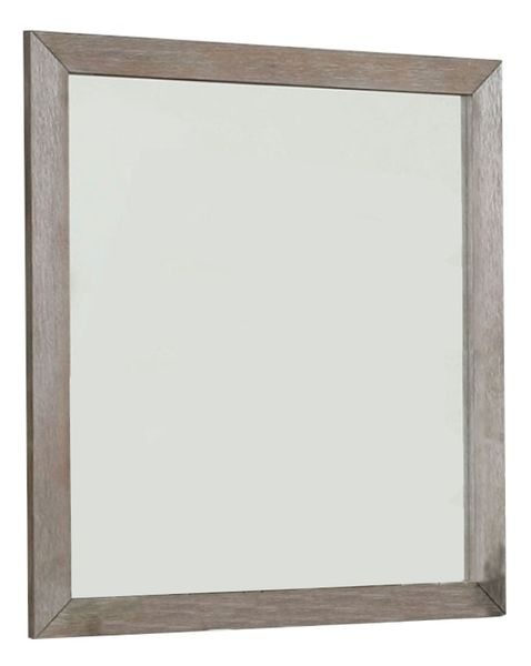 Vevey Wire-Brushed Warm Gray Wood Mirror by Furniture of America