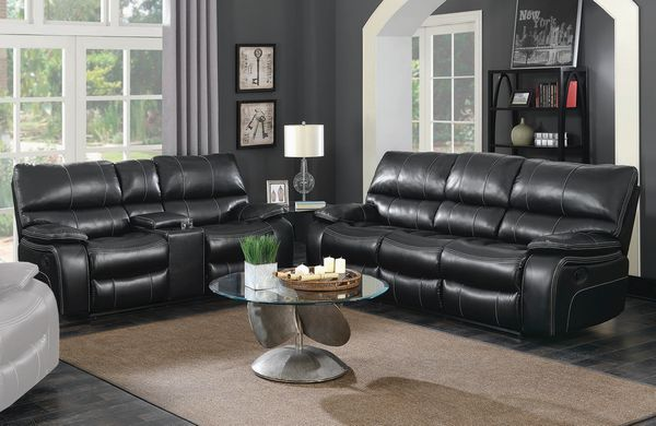 Willemse 2-Pc Black Leatherette Manual Recliner Sofa Set by Coaster
