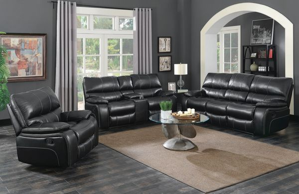 Willemse 3-Pc Black Leatherette Manual Recliner Sofa Set by Coaster
