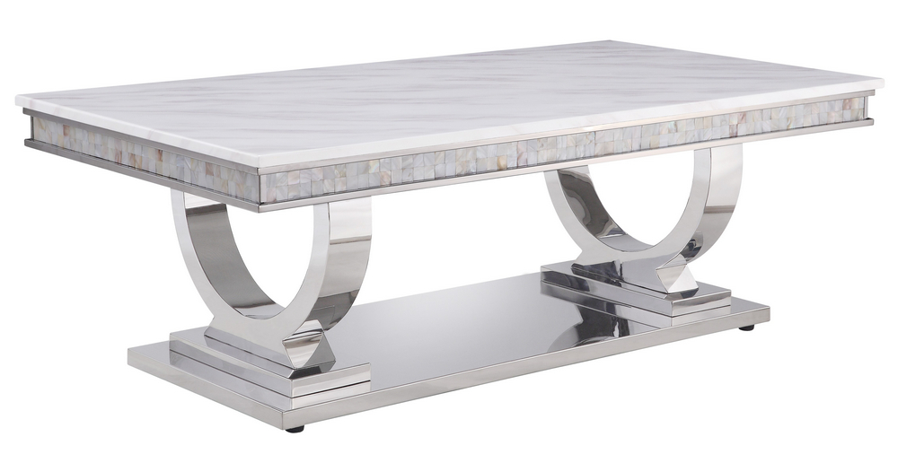 Zander White Printed Faux Marble Silver Metal Coffee Table By Acme