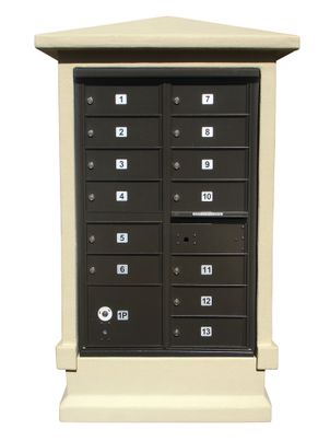 13 Door Stucco CBU Mailbox Center - Column and Mailbox Included (Choose Colors)