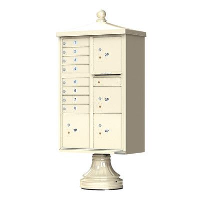 Decorative Traditional CBU Commercial Mailboxes - 8 Door with 4 Parcel Lockers - Sandstone