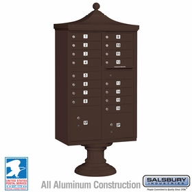 Salsbury 3316R-BRZ-U 16 Door Regency Decorative Cluster Mailbox Bronze