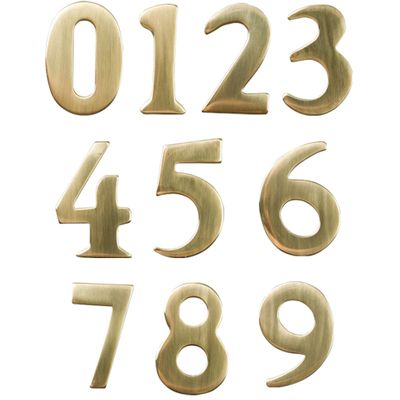 """2"""" Brass Numbers (Non-adhesive back; adhered to address plaque by manufacturer)"""