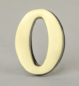 2 Inch Brass Number Zero with Self Adhesive Back