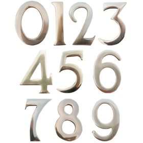 """3"""" Brass Numbers (Non-adhesive back; adhered to address plaque by Manufacturer)"""