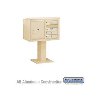 Salsbury 3405D-03 3 Door 4C Pedestal Mailbox with Parcel Locker