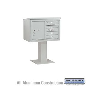 Salsbury 3405D-03GRY 3 Door 4C Pedestal Mailbox - Gray with Parcel Locker