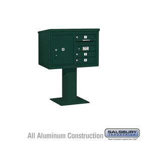 Salsbury 3405D-03GRN 3 Door 4C Pedestal Mailbox - Green with Parcel Locker