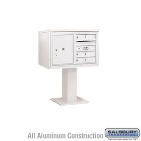 Salsbury 3405D-03WHT 3 Door 4C Pedestal Mailbox - White with Parcel Locker