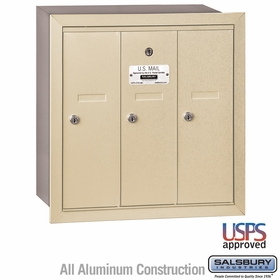 Salsbury 3503SRU 3 Door Vertical Mailbox Sandstone Recessed Mounted USPS Access