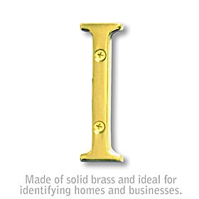 Salsbury 1240B-I 3 Inch Solid Brass Letter Brass Finish I