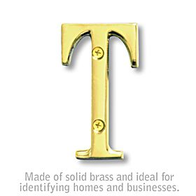 Salsbury 1240B-T 3 Inch Solid Brass Letter Brass Finish T