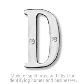 Salsbury 1240C-D 3 Inch Solid Brass Letter Chrome Finish D