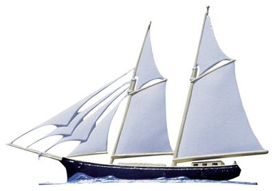 """Whitehall 30"""" Traditional Directions Life-Like MultiColor MARITIME SCHOONER Weathervane for Roof or Garden"""