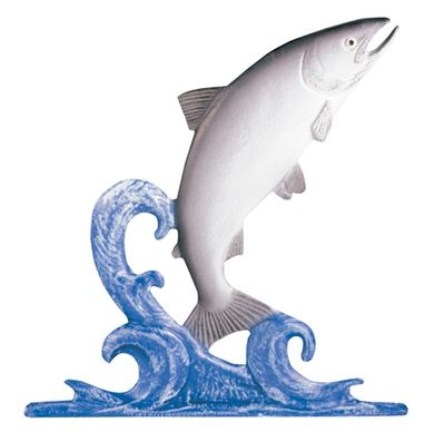 """Whitehall 30"""" Traditional Directions Life-Like MultiColor TROUT Weathervane for Roof or Garden"""