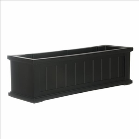 3Ft Wide Cape Cod Window Flower Box - Black