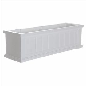 3Ft Wide Cape Cod Window Flower Box - White