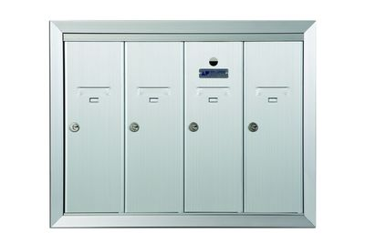 4 Compartment Fully Recessed Vertical Replacement Mailboxes - Anodized Aluminum