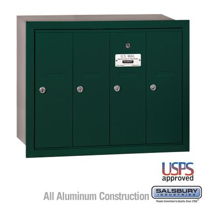 Salsbury 3504GRU 4 Door Vertical Mailbox Green Recessed Mounted USPS Access