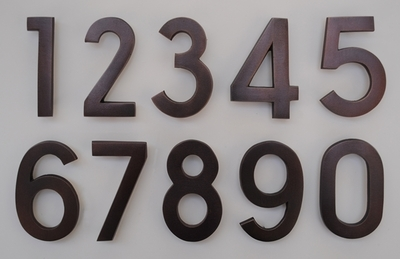 4 Inch Brass Numbers in Antique Copper