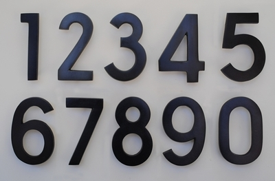 4 Inch Brass Numbers in Black Pewter