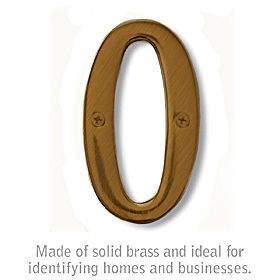 Salsbury 1220A-0 (4 Inch) Solid Brass Number Antique Finish 0