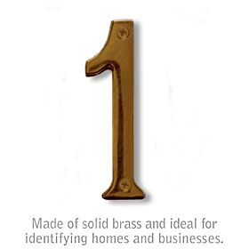 Salsbury 1220A-1 (4 Inch) Solid Brass Number Antique Finish 1