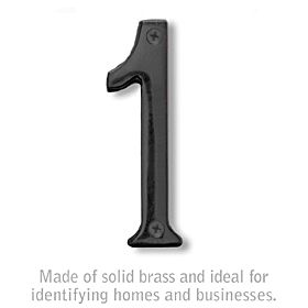 Salsbury 1220BLK-1 (4 Inch) Solid Brass Number Black Finish 1