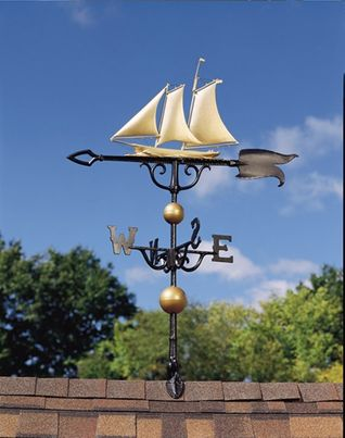 """Whitehall 46"""" Traditional Directions Full-Bodied YACHT Weathervane in Metallic Finish"""