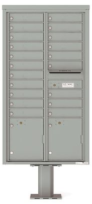 Versatile Front Loading Pedestal Mailbox with 20 Tenant Doors and 2 Parcel Lockers