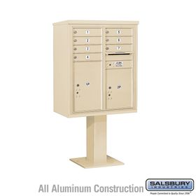 4C Pedestal Mailboxes with Parcel Lockers - 7 to 8 Doors