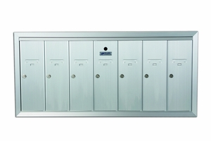 7 Compartment Fully Recessed Vertical Replacement Mailboxes - Anodized Aluminum