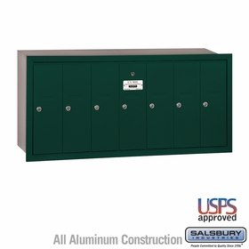 Salsbury 3507GRU 7 Door Vertical Mailbox Green Recessed Mounted USPS Access