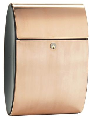 Allux Ellipse Locking Wall Mount Mailbox in Copper