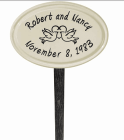 Whitehall Anniversary Heart Birds Ceramic Oval - Petite Lawn Address Sign - Two Line - Black