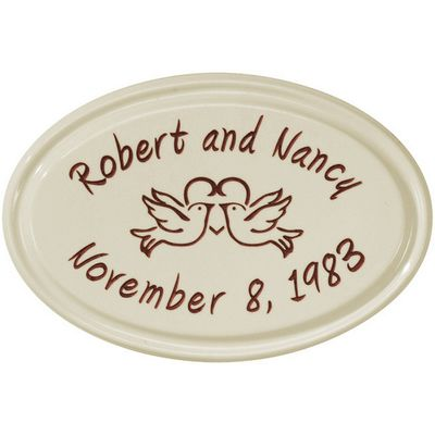 Whitehall Anniversary Heart Birds Ceramic Oval - Petite Wall Plaque - Two Line - Red