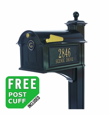 Whitehall Balmoral Monogram Mailbox and Post Package in Black