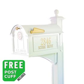 Whitehall Balmoral Monogram Mailbox and Post Package in White