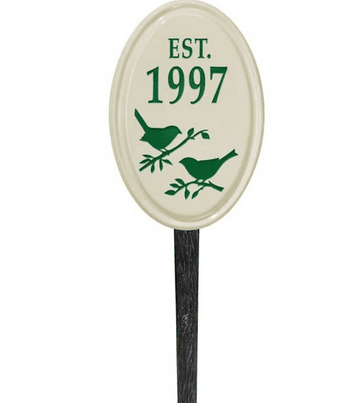 Whitehall Bird Silhouette Ceramic Oval - Petite Vertical Lawn Address Sign - One Line - Green