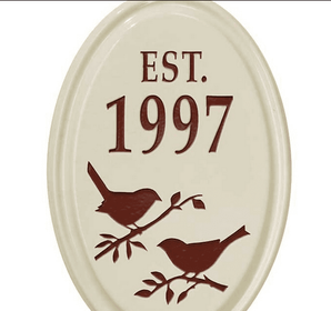 Whitehall Bird Silhouette Ceramic Oval - Petite Vertical One Line Wall Plaque - Red