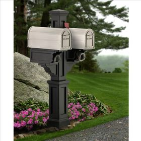 Rockport Double Mailbox Post Black
